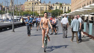 Nude girs bicycling