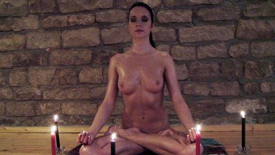 Nude girls meditating